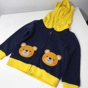 4/$15 Urban kids teddy bear zip up hoodie- as is